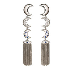 Moons with Evil Eye  Drop Earrings- Rhodium