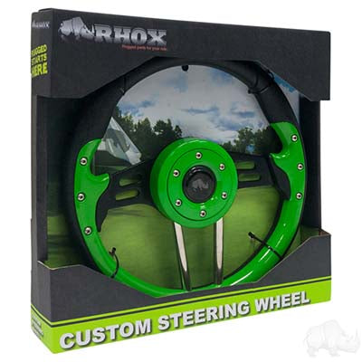 "Steering Wheel, Aviator 4 Lime Green Grip/Black Spokes 13"" Diameter"