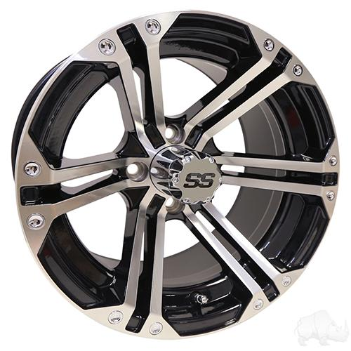 TIR-RX350, RHOX RX350, Machined w/ Black w/ Center Cap, 14x7 ET-25