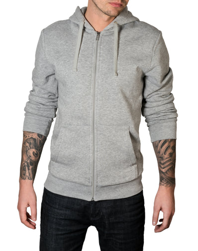 S / Grey Super minimal Zip-Up Hoodie - Thrill Clothing