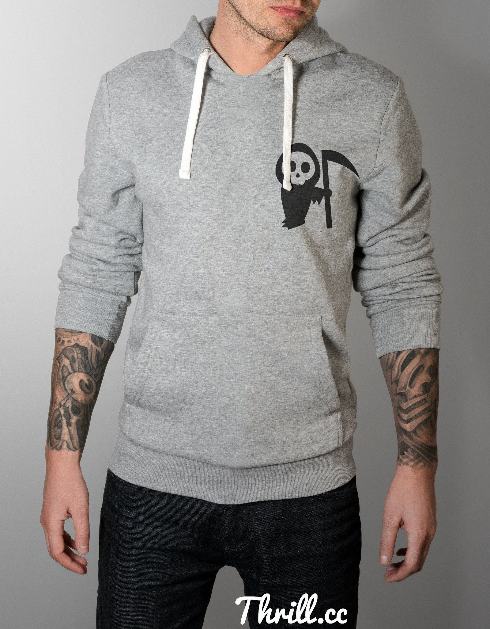 S / Grey Grey Hodded Man - Thrill Clothing