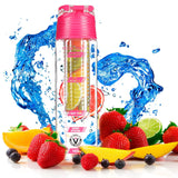 Fruit Infuser Infuser Water Bottle 24 Oz Drink Tracker Positive Quotes Free Recipe Book