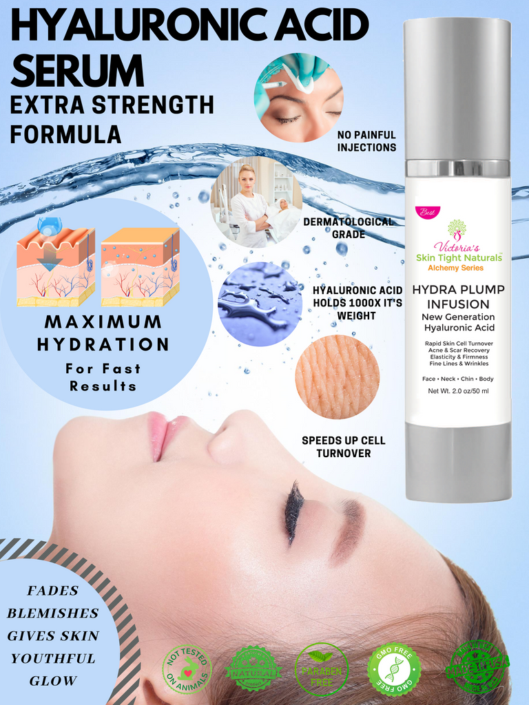 Hyaluronic acid serum fill in fine lines and resuce wrinkles brighten skin
