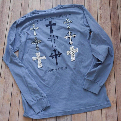 Image of Every Cross Is Different...Matthew 10:38 Long Sleeve - Lewey's