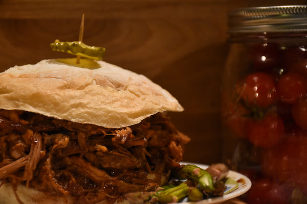 Pulled Pork Barbecue Sandwich for Fall, Halloween, and Tailgating