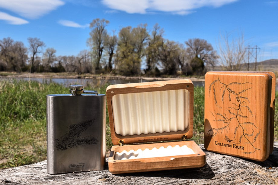Gallatin River Fly Box by Stone Fly Studios on 10 Montana Gifts for Dad by Issa Rabideaux