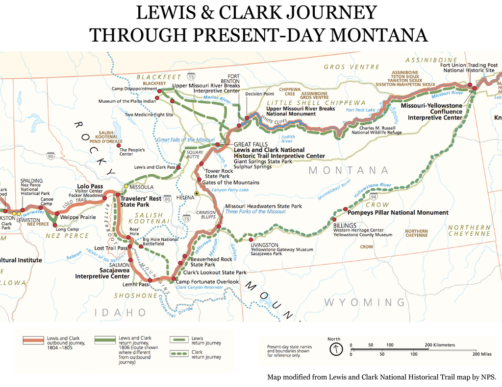Lewis and Clark map of Montana