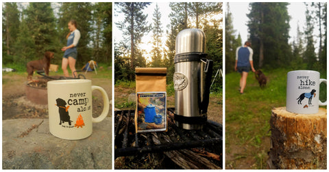 Camping and Coffee and Canines. Never Hike Alone, Backpacking in Bozeman, Montana at the Montana Gift Corral. Cozy Camping is best <3