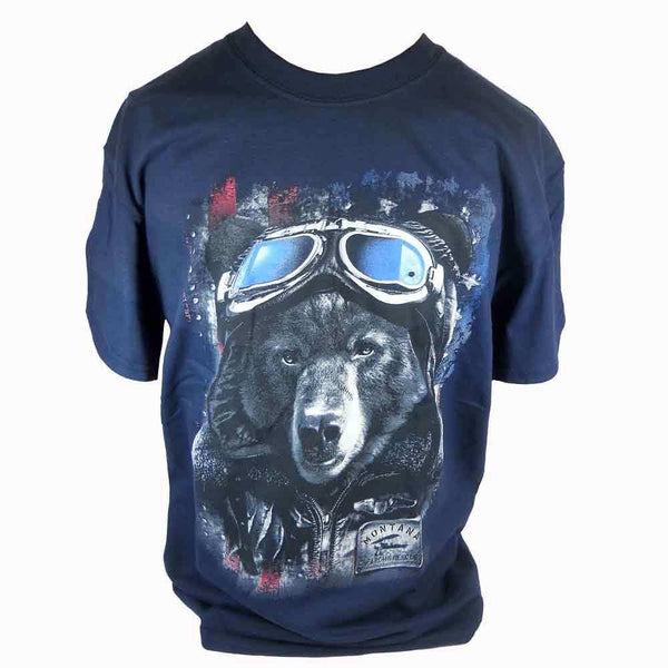 Navy Black Bear Flag Montana T-Shirt