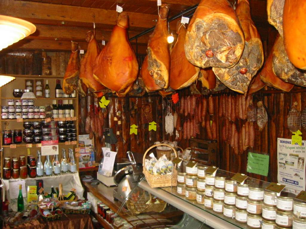 Charcuterie hanging in a French shop from wikipedia