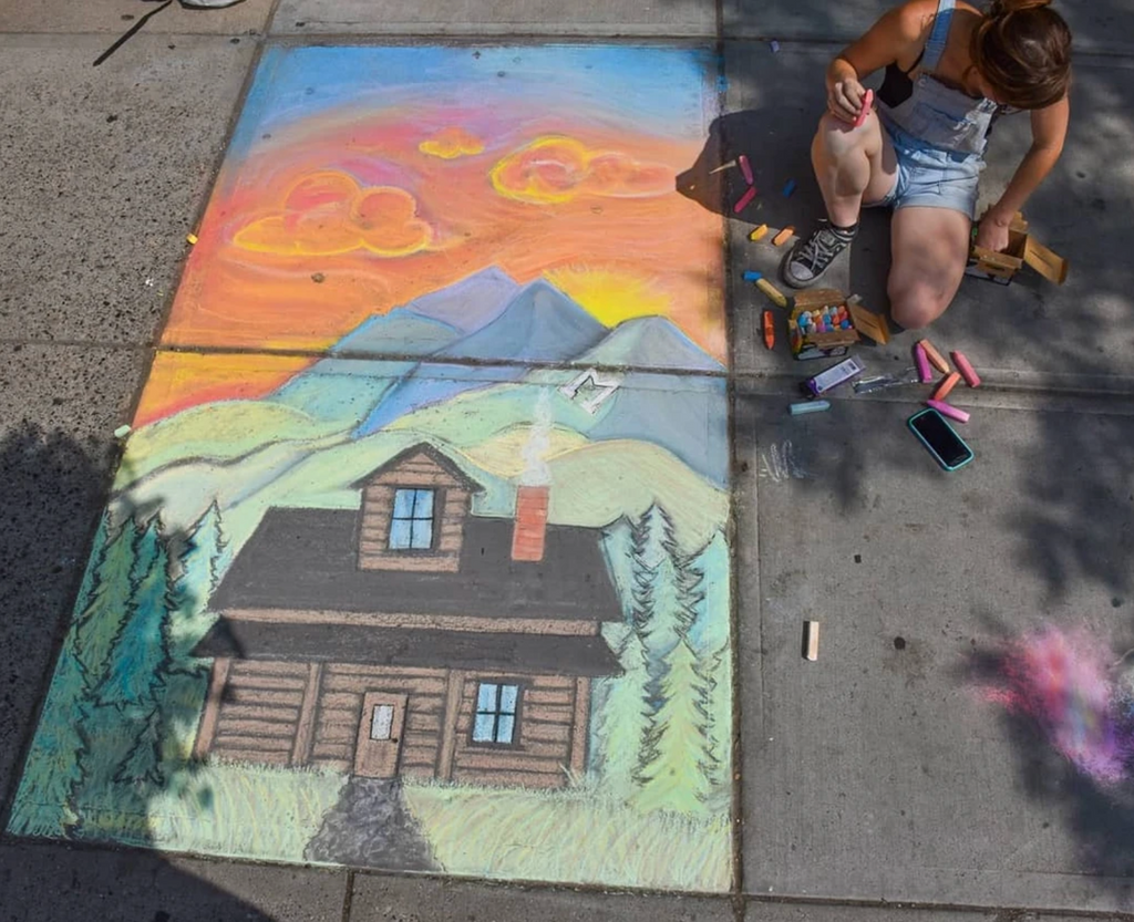 Chalk on the Walk in front of Montana Gift Corral in Downtown Bozeman