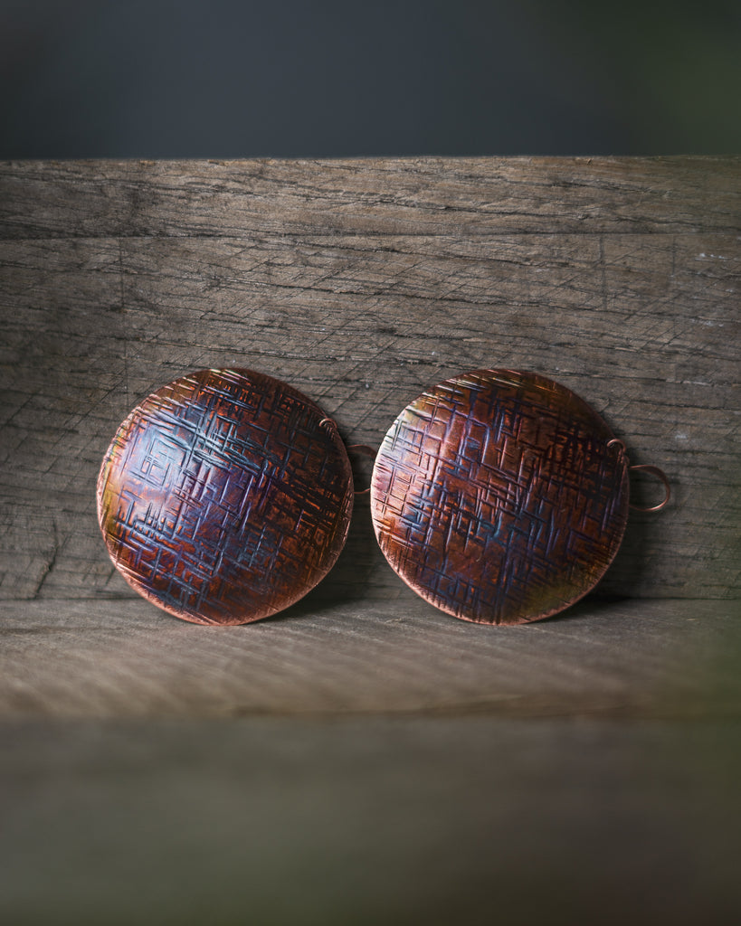 Large Textured Disc Earrings by Roseworks MT