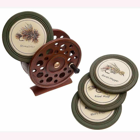 Fly fishing reel coasters at Montana Gift Corral, unique souvenirs