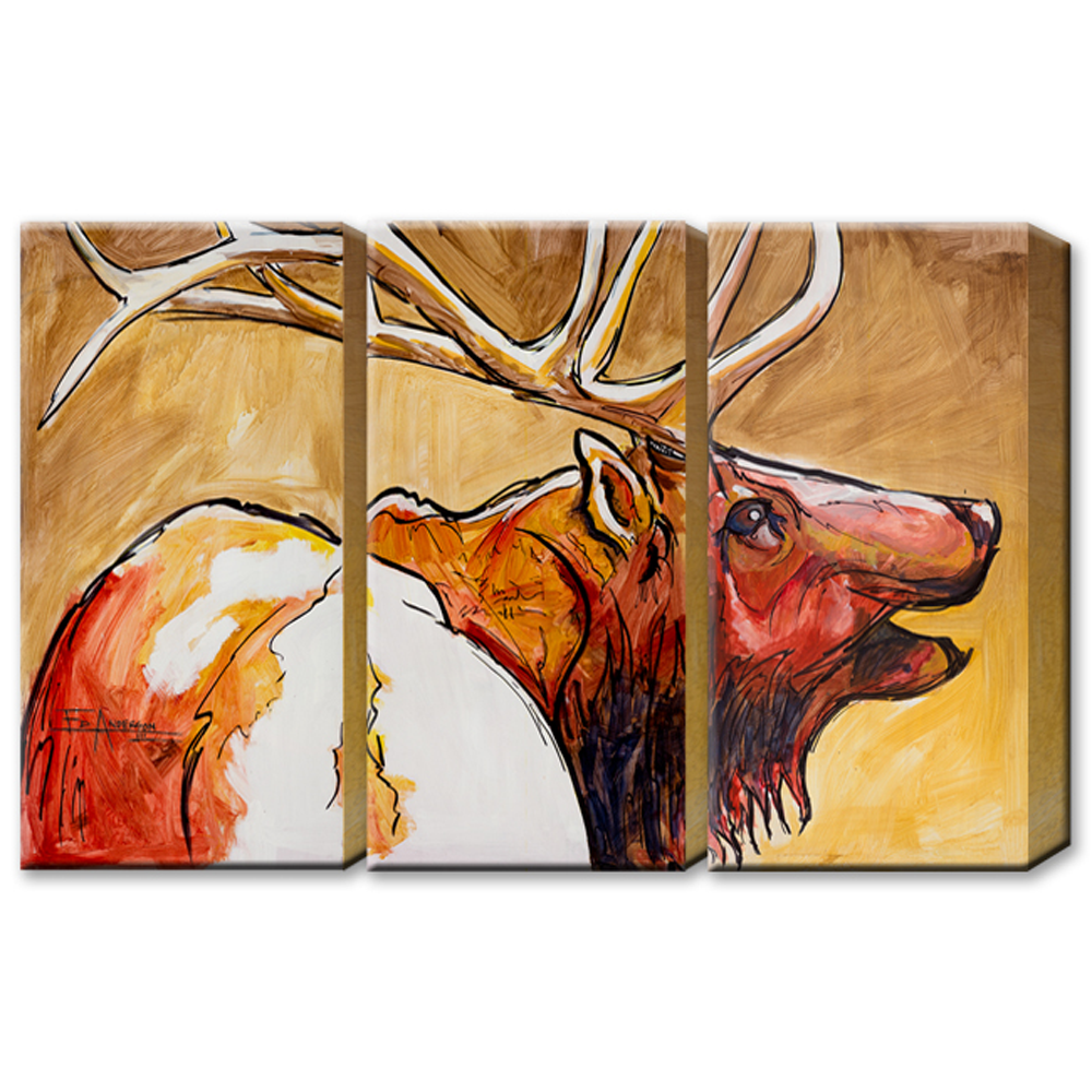 Ed Anderson 3 Aluminum Panel Red Bull Elk Wall Art