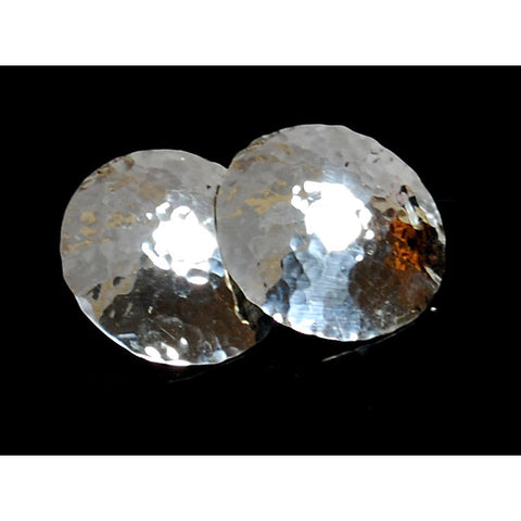Large Hammered-Look Sterling Silver Earring