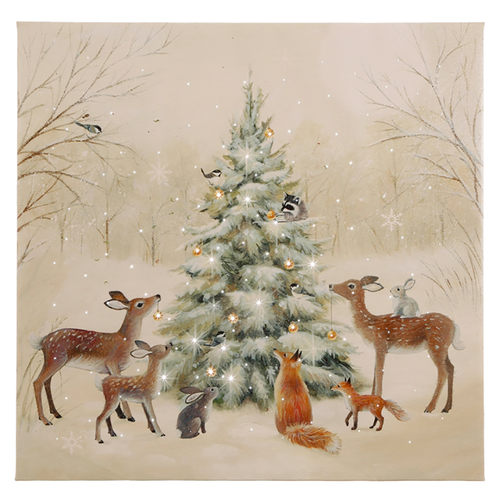 around the tree woodland animal lighted print by raz imports tree - Lighted Animals Christmas Decoration