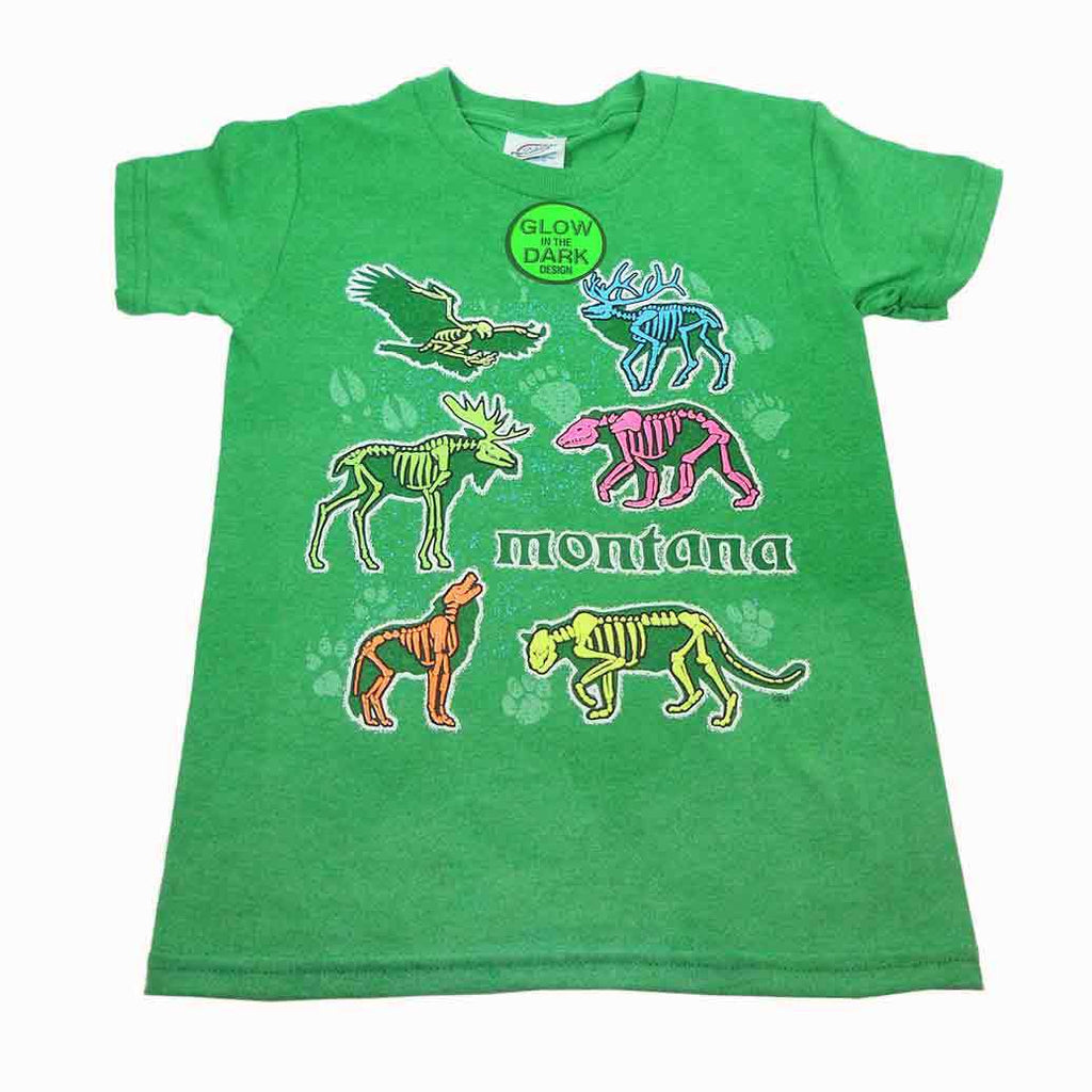 Kelly Green Animal XRay Glow Youth Montana TShirt