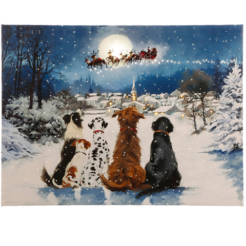 Dogs Watching Santa Lighted Print by RAZ Imports 24""