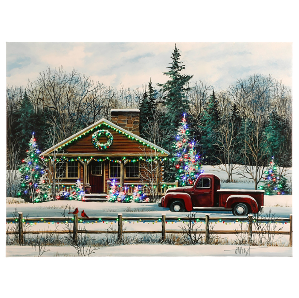 Winter House Scene Lighted Print by RAZ Imports