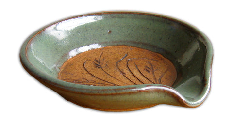 Green Spoon Rest by Mountain Brook Pottery