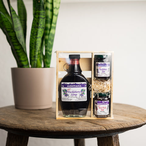 Huckleberry Syrup and Jam Gift Crate