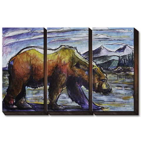 Ed Anderson 3 Aluminum Panel Grizzly Bear Wall Art