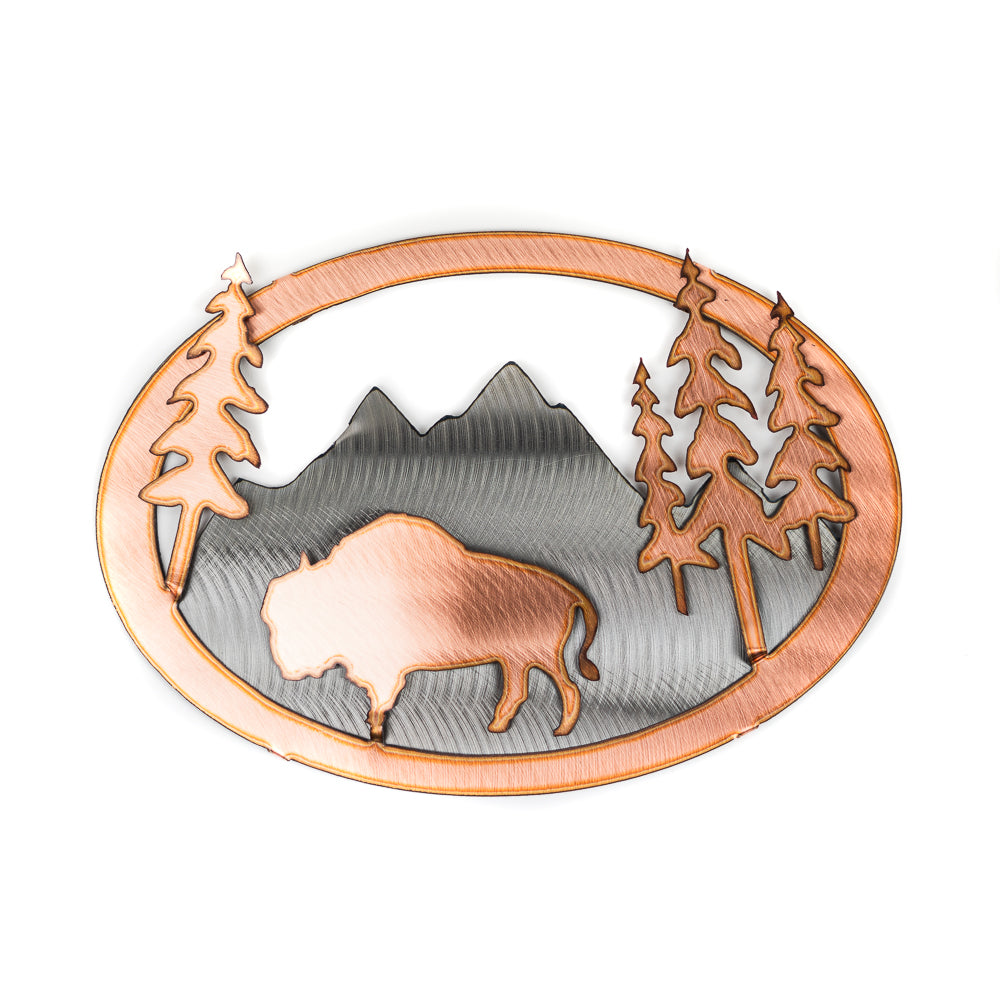 Looking for a simple yet elegant home decor piece? The 3D Copper Buffalo Wall Art by H&K Studio brings artistic simplicity and natures serenity into your home through the use of contrasting colors of copper and metal. A beautiful addition to any home.