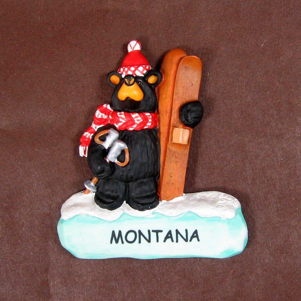 Bearfoots Skier Bear Montana Magnet by Big Sky Carvers