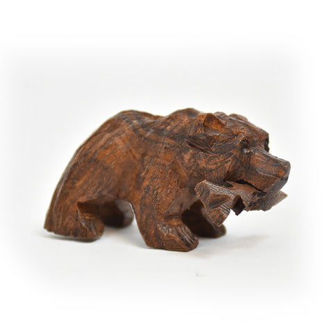 Micro Grizzly Bear with Fish Ironwood Figurine by EarthView Inc.