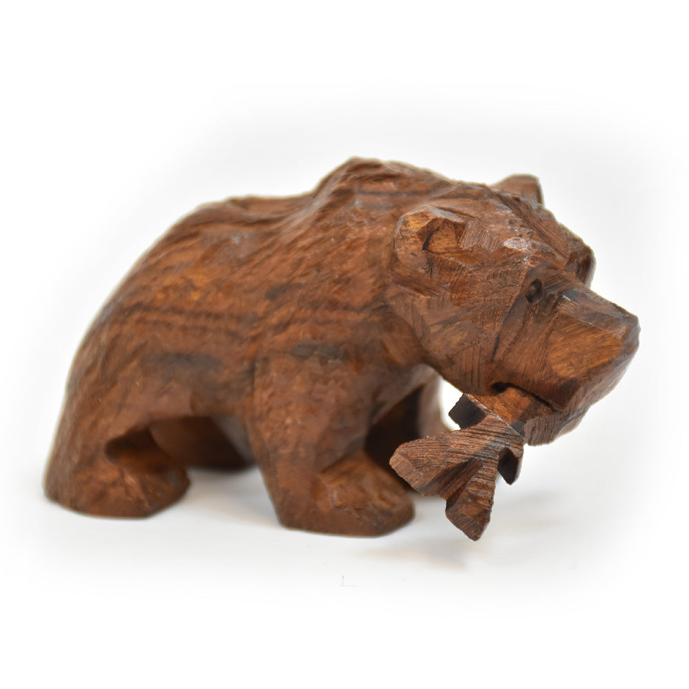 Mini Grizzly Bear with Fish Ironwood Figurine by EarthView Inc.