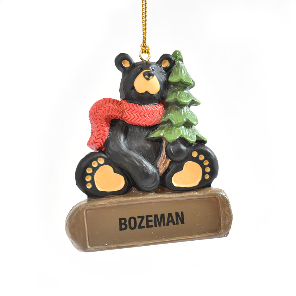 Bearfoots Bear with Tree Bozeman Montana Christmas Ornament by Jeff Fleming and Big Sky Carvers, Only at Montana Gift Corral