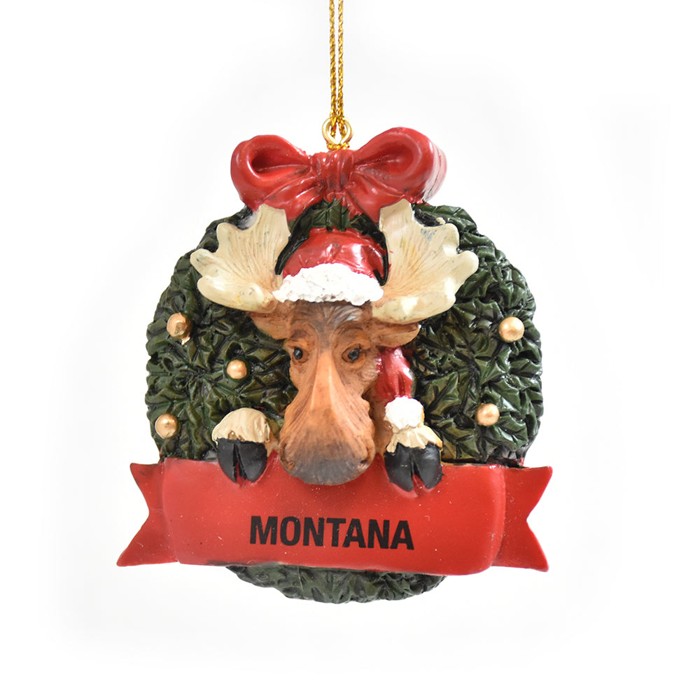 Moose in Wreath Montana Christmas Ornament by Big Sky Carvers at Montana Gift Corral