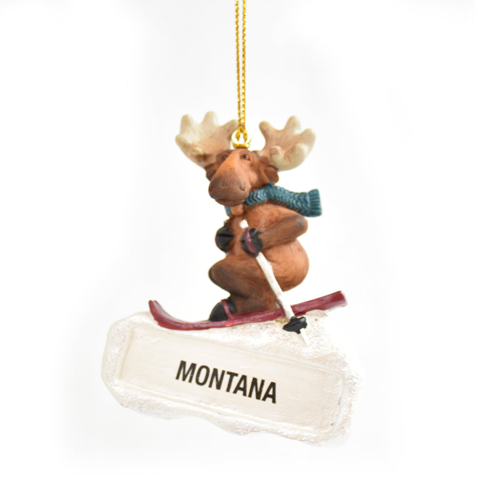 Montana Powder Moose Christmas Ornament by Big Sky Carvers at Montana Gift Corral