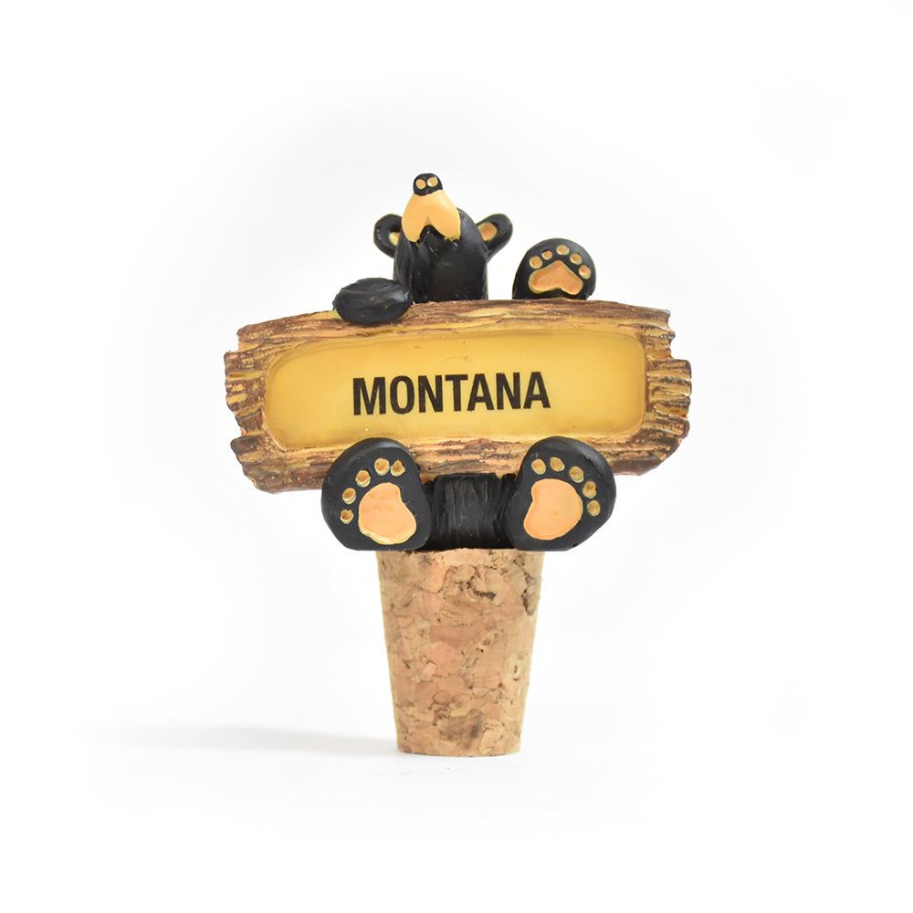 Bearfoots Bears Montana Wine Bottle Stopper by Jeff Fleming by Big Sky Carvers at Montana Gift Corral