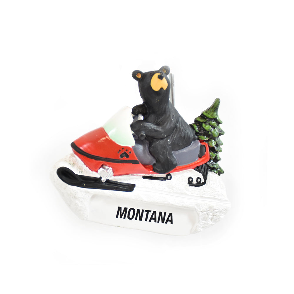 Bearfoots Montana Snow Machine Bear Magnet by Jeff Fleming from Big Sky Carvers and Demdaco at Montana Gift Corral