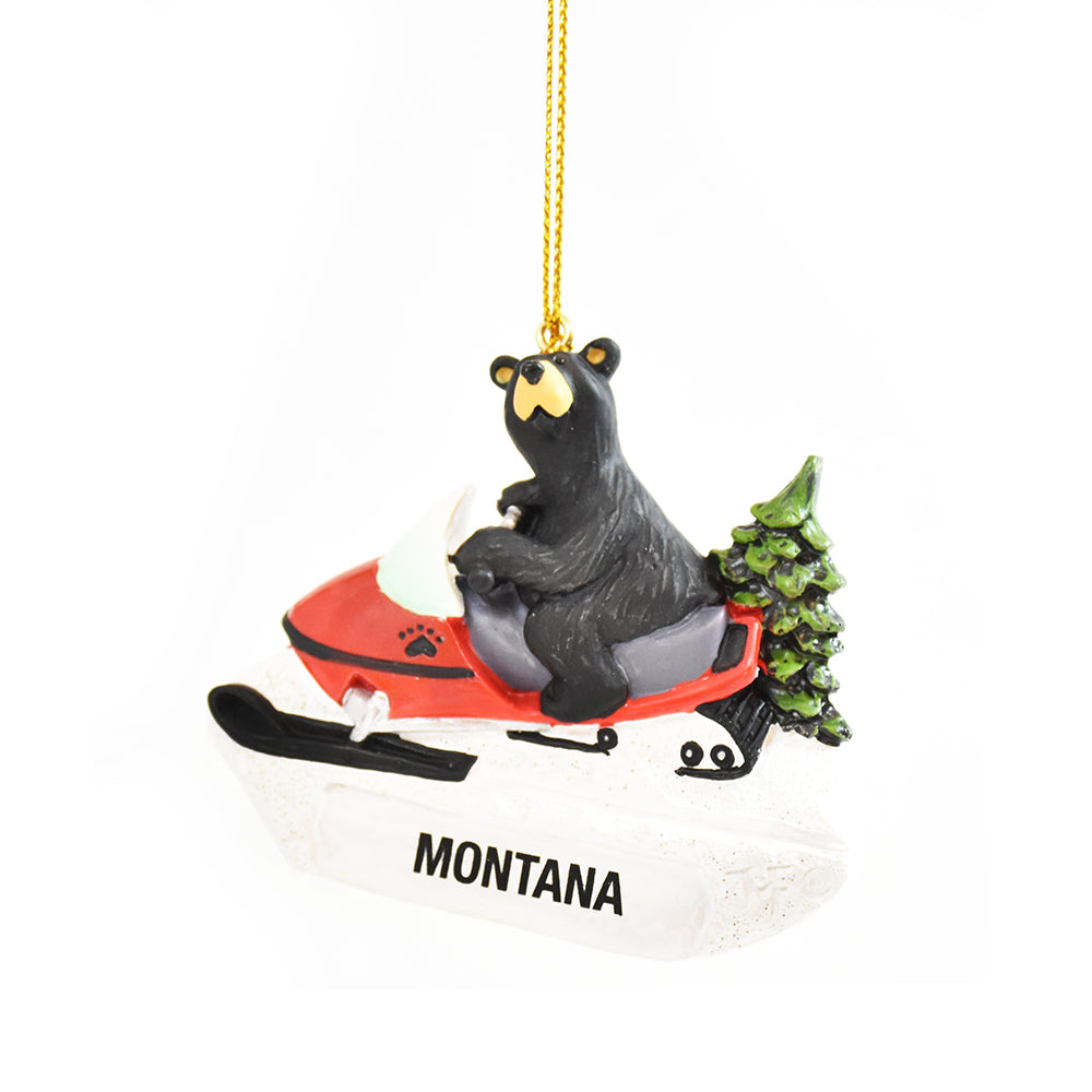 Bearfoots Snow Machine Christmas Ornament by Jeff Fleming by Big Sky Carvers at Montana Gift Corral