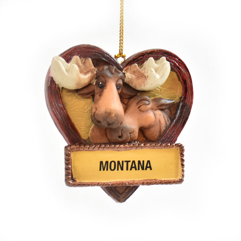 Lovey Dovey Montana Moose Christmas Ornament by Big Sky Carvers at Montana Gift Corral
