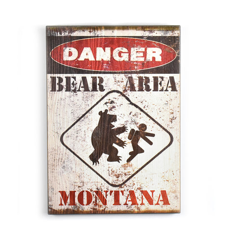 Montana Danger: Bear Area Matchbook Sign by Meissenburg Designs at Montana Gift Corral