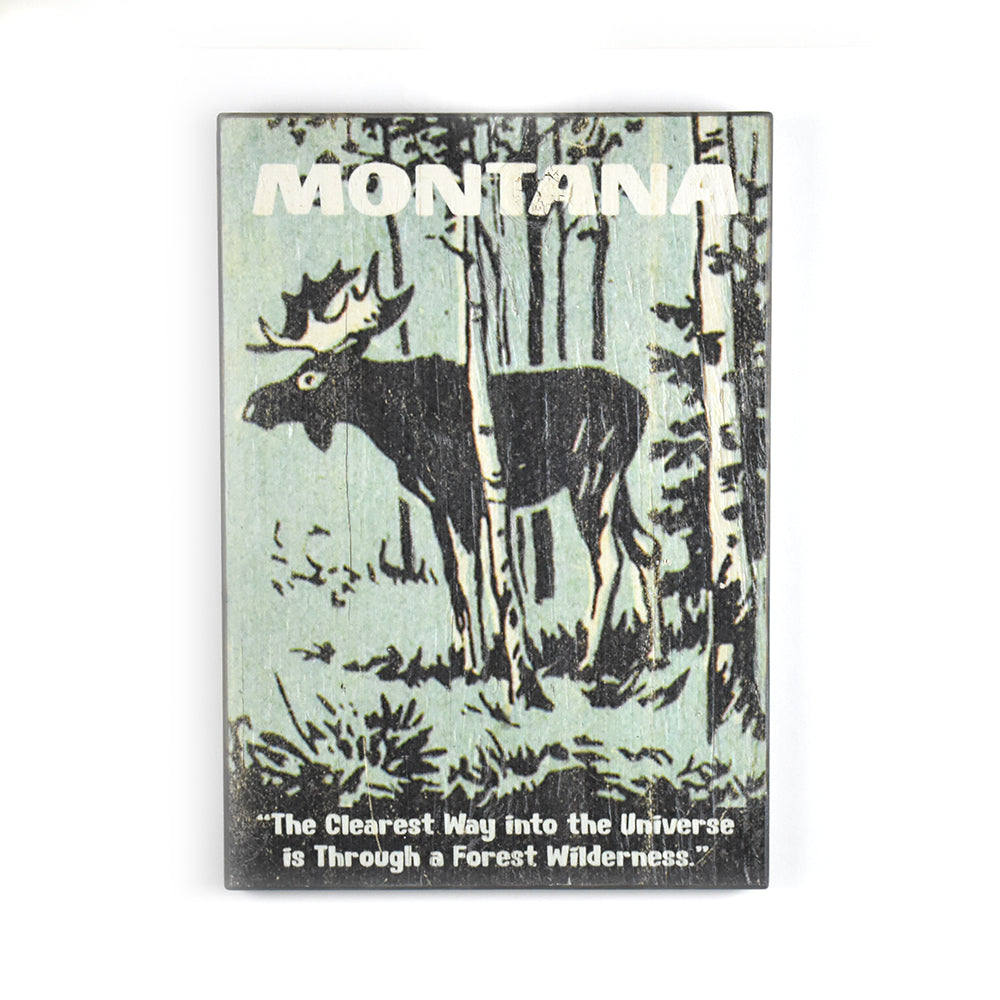 Montana Way to the Universe Moose Matchbook Sign by Meissenburg Designs at Montana Gift Corral