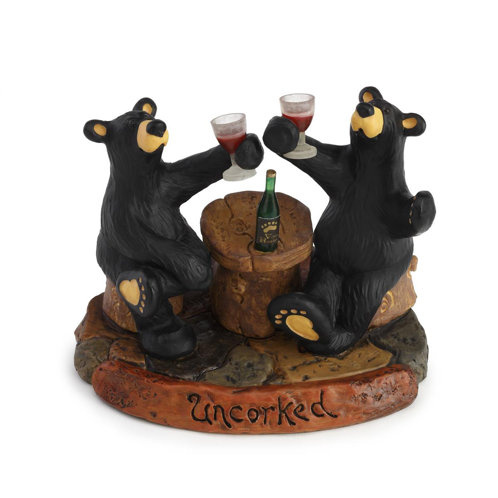 Bearfoots Uncorked Figurine by Big Sky Carvers