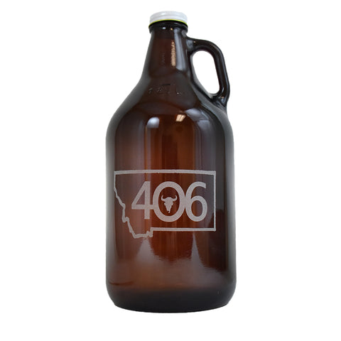 Amber Growler by SK Design Montana Outline with 406 Etching