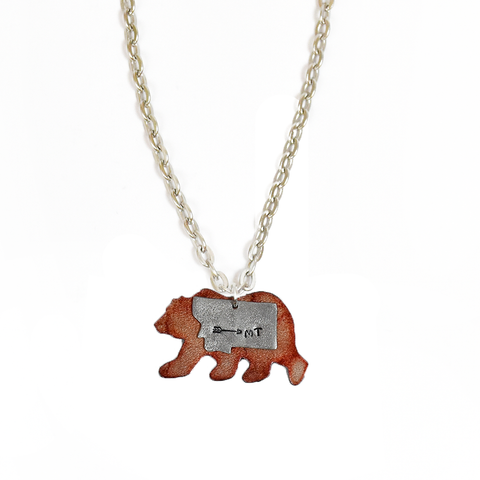 Red Montana Bear Stack Necklace by Adam Hegreberg