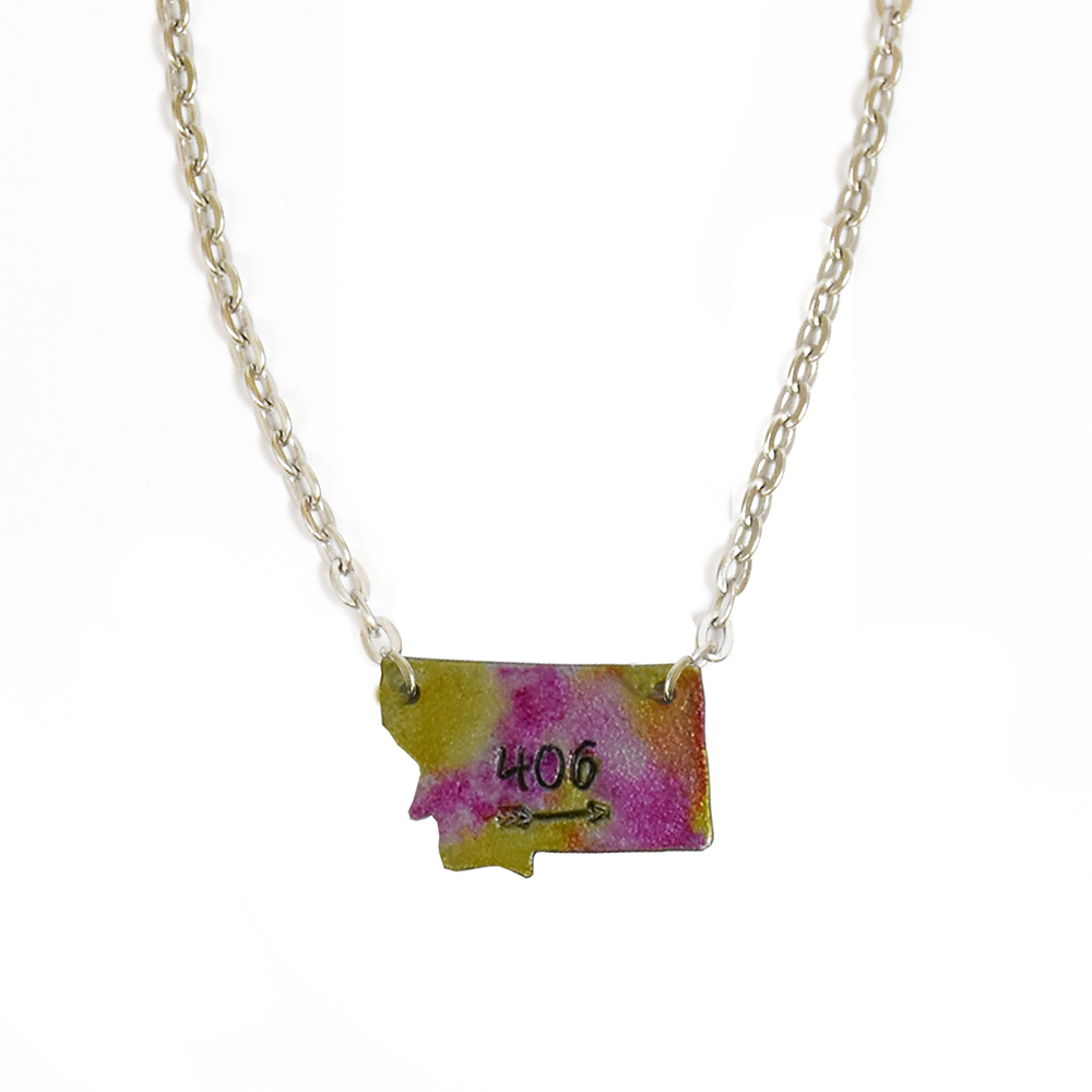 Pink and Yellow 406 Single Montana Necklace by Adam Hegreberg