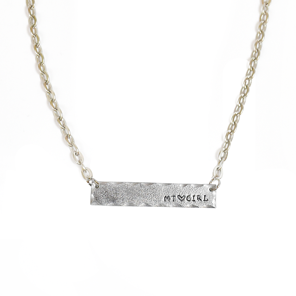 Silver MT Girl Montana Bar Necklace by Adam Hegreberg