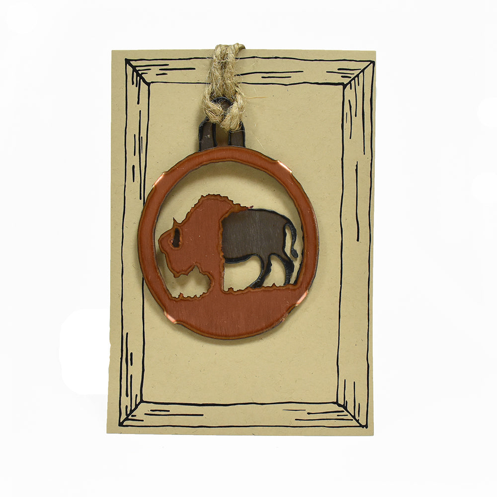Copper Buffalo Rustic Wildlife Christmas Ornaments by H&K Studios