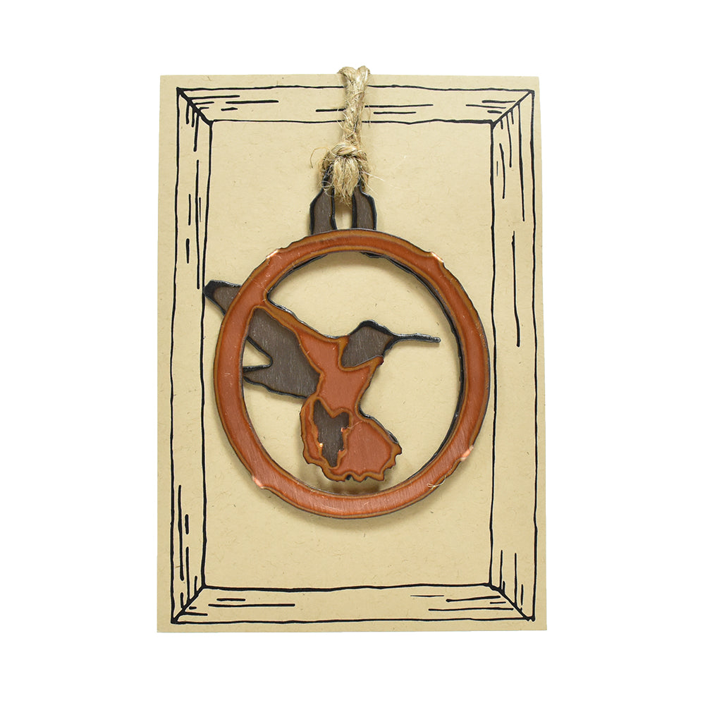Copper Hummingbird Rustic Bird Christmas Ornaments by H&K Studios