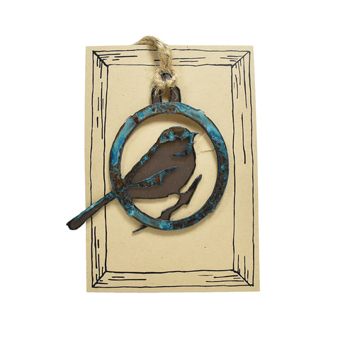 Patina Chickadee Rustic Bird Christmas Ornaments by H&K Studios