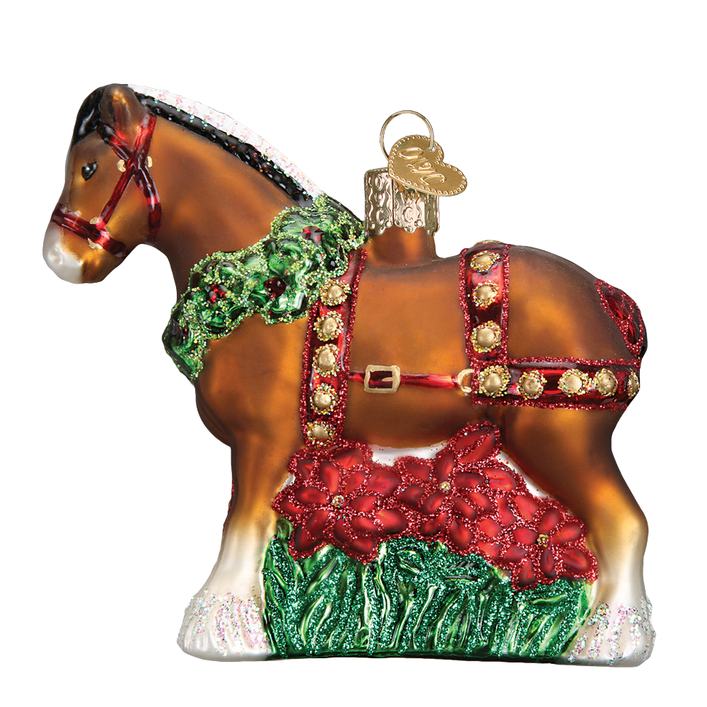 Holiday Clydesdale Ornament by Old World Christmas