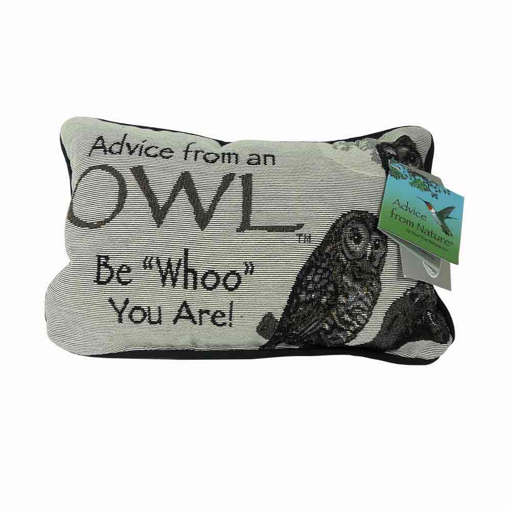Advice from an Owl Pillow (front)
