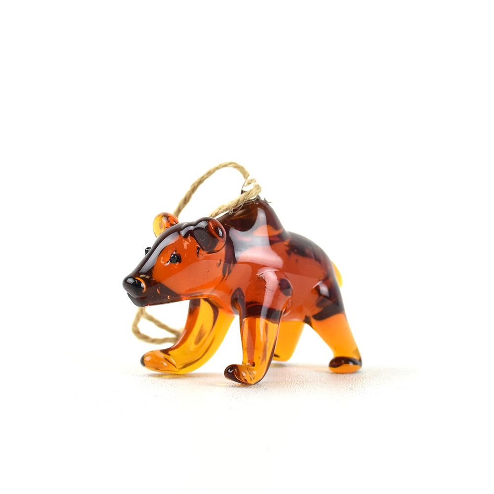 Amber Blown-Glass Bear Christmas Ornament by Art Studio Company at Montana Gift Corral